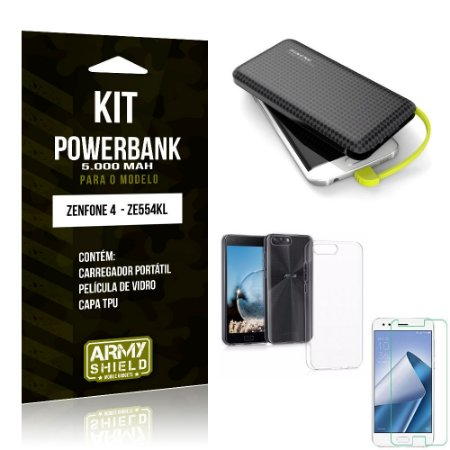 Kit Carregador Portátil 5K Zenfone 4 Powerbank 5000mah + Capa + Película de Vidro - Armyshield
