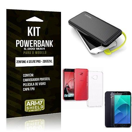 Kit Carregador Portátil 5K Zenfone 4 Selfie Pro Powerbank + Capa + Película de Vidro - Armyshield