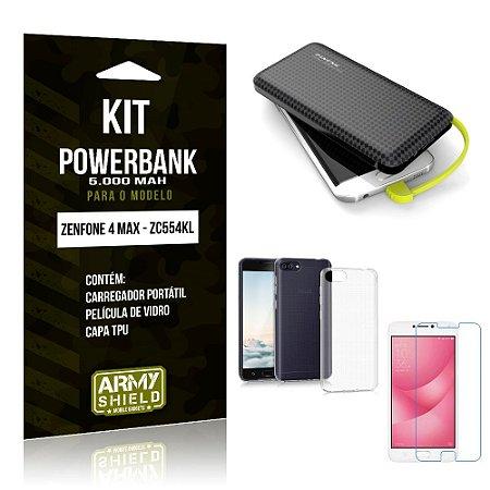 Kit Carregador Portátil 5K Zenfone 4 Max Powerbank 5000mah + Capa + Película de Vidro - Armyshield