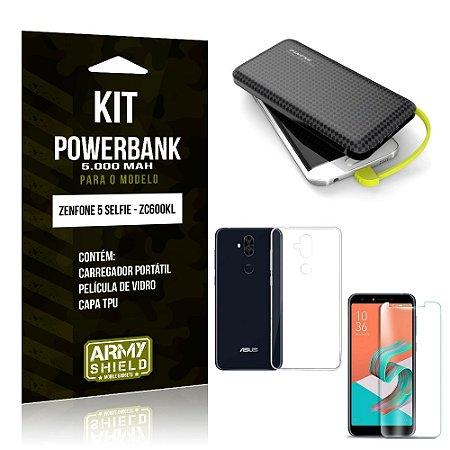 Kit Carregador Portátil 5K Zenfone 5 Selfie Powerbank 5000mah + Capa + Película Vidro - Armyshield