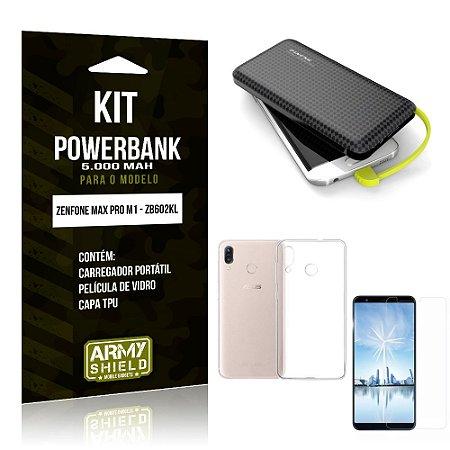 Kit Carregador Portátil 5K Zenfone Max Pro M1 Powerbank 5000mah + Capa + Película Vidro - Armyshield