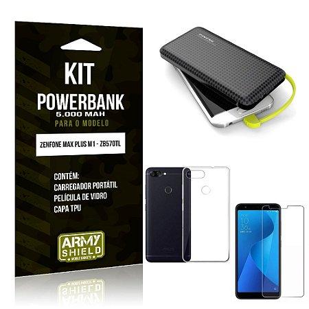 Kit Carregador Portátil 5K Zenfone Max Plus M1 Powerbank + Capa + Película de Vidro - Armyshield