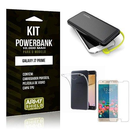 Kit Carregador Portátil 10K Galaxy J7 Prime Powerbank + Capa + Película de Vidro - Armyshield