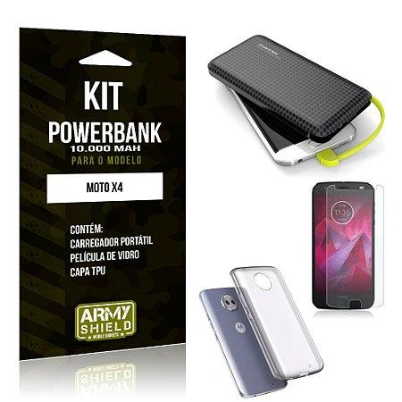 Kit Carregador Portátil 10K Tipo C Moto X4 Powerbank + Capa + Película de Vidro - Armyshield