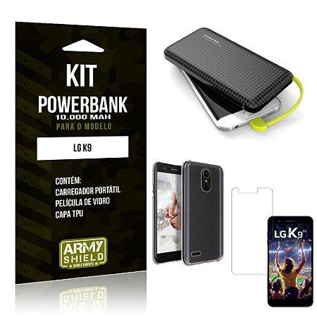 Kit Carregador Portátil 10K LG K9 Powerbank + Capa + Película de Vidro - Armyshield