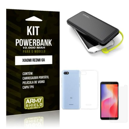 Kit Carregador Portátil 10K Redmi 6A Powerbank + Capa + Película de Vidro - Armyshield