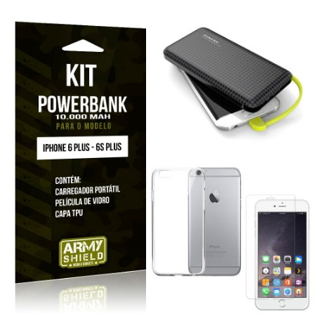 Kit Carregador Portátil 10K iPhone 6 Plus/6S Plus Powerbank + Capa + Película de Vidro - Armyshield