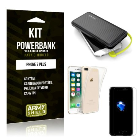 Kit Carregador Portátil 10K Apple iPhone 7 Plus Powerbank + Capa + Película de Vidro - Armyshield