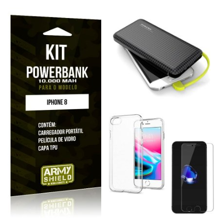 Kit Carregador Portátil 10K Apple iPhone 8 Powerbank + Capa + Película de Vidro - Armyshield