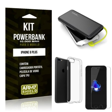 Kit Carregador Portátil 10K Apple iPhone 8 Plus Powerbank + Capa + Película de Vidro - Armyshield