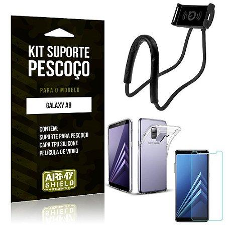 Kit Suporte Pescoço Samsung Galaxy A8 Suporte + Capa + Película de Vidro - Armyshield