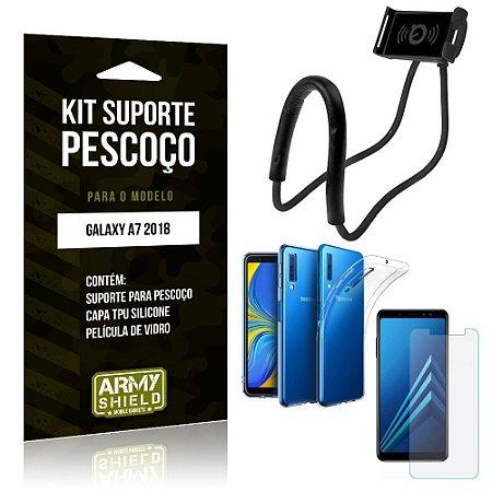 Kit Suporte Pescoço Samsung Galaxy A7 2018 Suporte + Capa + Película de Vidro - Armyshield