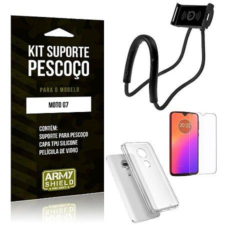 Kit Suporte Pescoço Motorola Moto G7 Suporte + Capa + Película de Vidro - Armyshield
