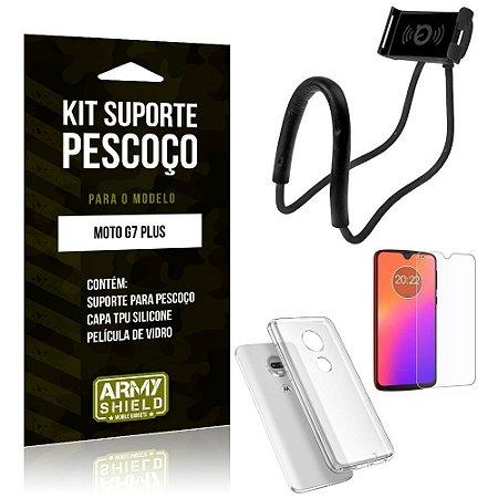 Kit Suporte Pescoço Motorola Moto G7 Plus Suporte + Capa + Película de Vidro - Armyshield