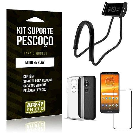 Kit Suporte Pescoço Motorola Moto E5 Play Suporte + Capa + Película de Vidro - Armyshield