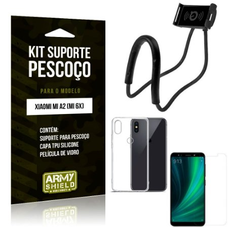 Kit Suporte Pescoço Xiaomi Mi A2 Suporte + Capa + Película de Vidro - Armyshield