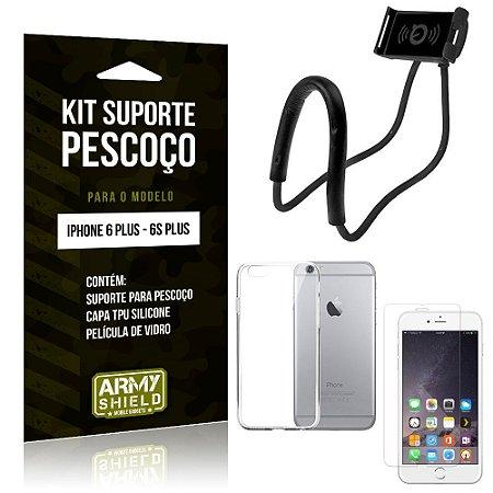 Kit Suporte Pescoço Apple iPhone 6 Plus/6S Plus Suporte + Capa + Película de Vidro - Armyshield