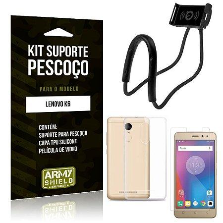 Kit Suporte Pescoço Lenovo  K6 Suporte + Capa + Película de Vidro - Armyshield