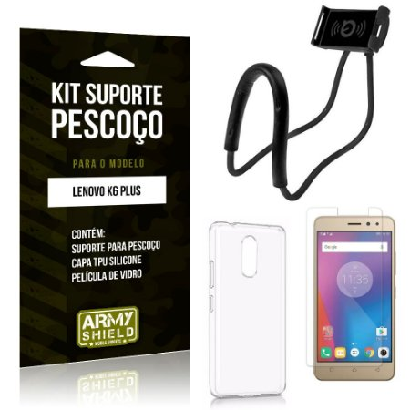 Kit Suporte Pescoço Lenovo  K6 Plus Suporte + Capa + Película de Vidro - Armyshield