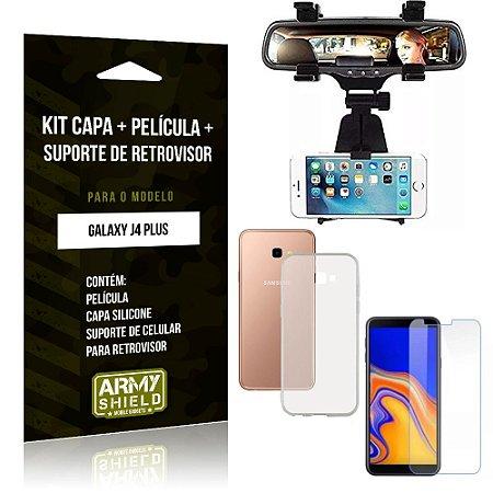 Kit Suporte Retrovisor Samsung Galaxy J4 Plus Suporte + Capa + Película de Vidro - Armyshield