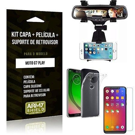 Kit Suporte Retrovisor Motorola Moto G7 Play Suporte + Capa + Película de Vidro - Armyshield
