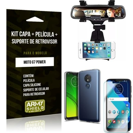 Kit Suporte Retrovisor Motorola Moto G7 Power Suporte + Capa + Película de Vidro - Armyshield