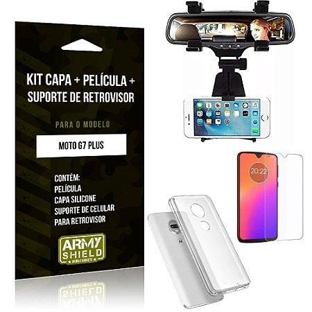 Kit Suporte Retrovisor Motorola Moto G7 Plus Suporte + Capa + Película de Vidro - Armyshield
