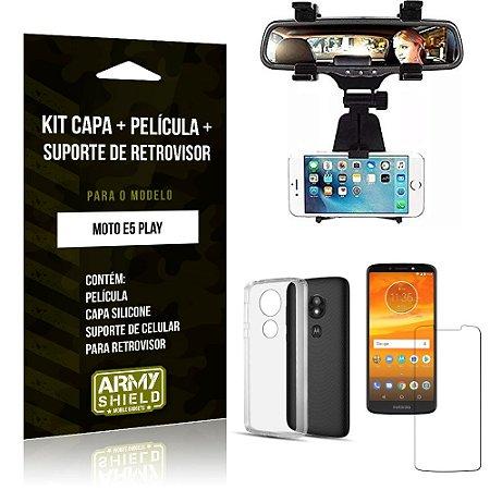 Kit Suporte Retrovisor Motorola Moto E5 Play Suporte + Capa + Película de Vidro - Armyshield