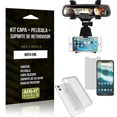 Kit Suporte Retrovisor Motorola Moto One Suporte + Capa + Película de Vidro - Armyshield