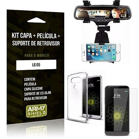 Kit Suporte Retrovisor LG  G5 Suporte + Capa + Película de Vidro - Armyshield