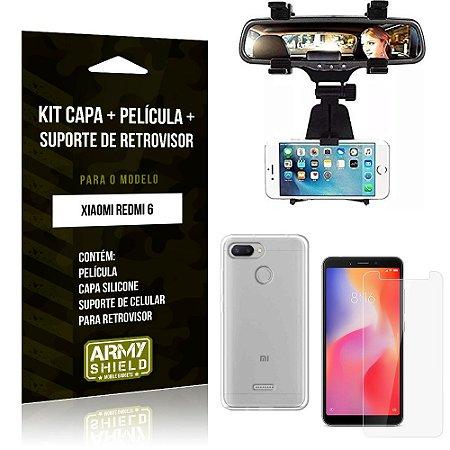 Kit Suporte Retrovisor Xiaomi Redmi 6 Suporte + Capa + Película de Vidro - Armyshield