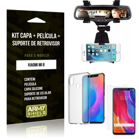 Kit Suporte Retrovisor Xiaomi Mi 8 Suporte + Capa + Película de Vidro - Armyshield