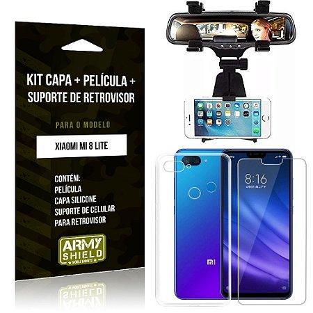 Kit Suporte Retrovisor Xiaomi Mi 8 Lite Suporte + Capa + Película de Vidro - Armyshield