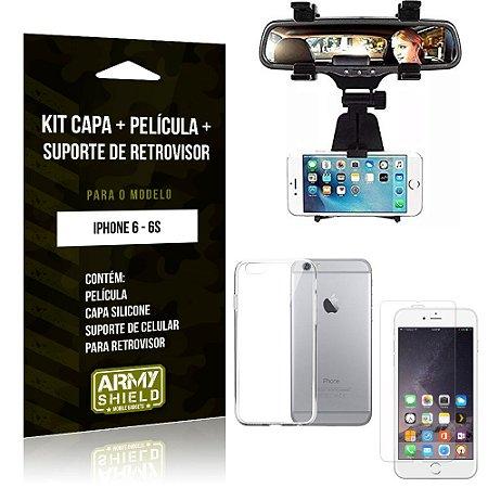 Kit Suporte Retrovisor Apple iPhone 6/6S Suporte + Capa + Película de Vidro - Armyshield