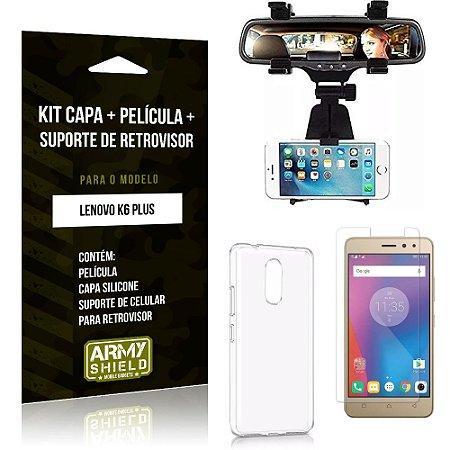 Kit Suporte Retrovisor Lenovo  K6 Plus Suporte + Capa + Película de Vidro - Armyshield