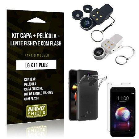 Kit Braçadeira LG K11 Plus Braçadeira + Capa + Película de Vidro - Armyshield
