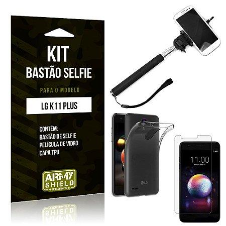 Kit Bastão de Selfie LG K11 Plus Bastão + Capa + Película de Vidro - Armyshield