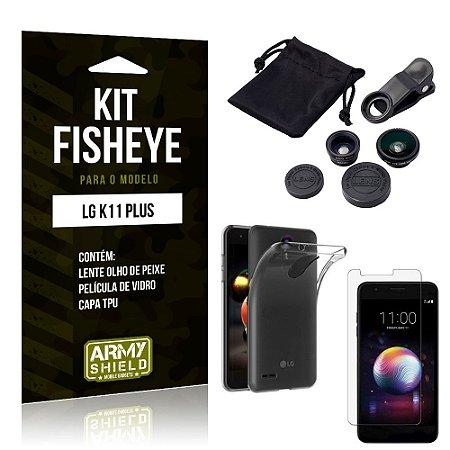 Kit Fisheye LG K11 Plus Lente Fisheye + Capa + Película de Vidro - Armyshield
