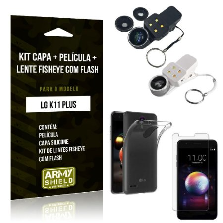 Kit Fisheye com Flash LG K11 Plus Fisheye Flash + Capa + Película de Vidro - Armyshield