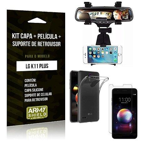 Kit Suporte Retrovisor LG K11 Plus Suporte + Capa + Película de Vidro - Armyshield