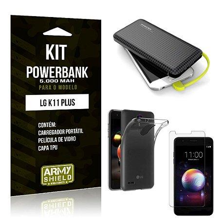 Kit Carregador Portátil 5K LG K11 Plus Powerbank + Capa + Película de Vidro - Armyshield