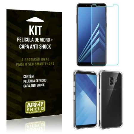 Kit Capa Anti Shock Samsung Galaxy A8 Plus Capa Anti Shock + Película de Vidro - Armyshield