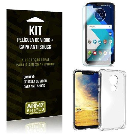 Kit Capa Anti Shock Motorola Moto G7 Power Capa Anti Shock + Película de Vidro - Armyshield
