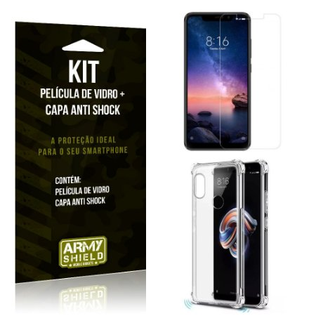 Kit Capa Anti Shock Xiaomi Redmi Note 6 Pro Capa Anti Shock + Película de Vidro - Armyshield