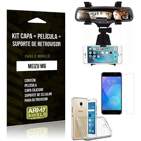 Kit Suporte Retrovisor Meizu M6 Suporte + Capa + Película de Vidro - Armyshield