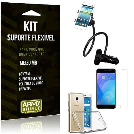 Kit Suporte Flexível Meizu M6 Suporte + Capa + Película de Vidro - Armyshield