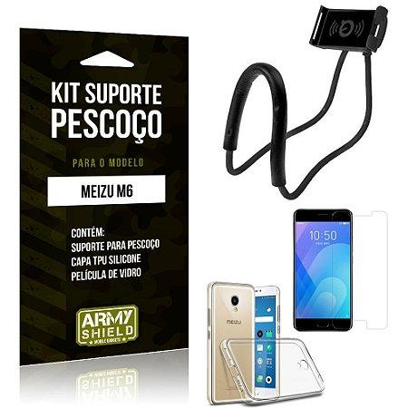 Kit Suporte Pescoço Meizu M6 Suporte + Capa + Película de Vidro - Armyshield