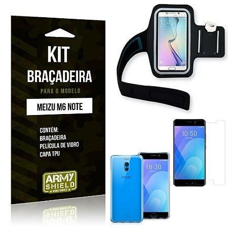 Kit Braçadeira Meizu M6 Note Braçadeira + Capa + Película de Vidro - Armyshield