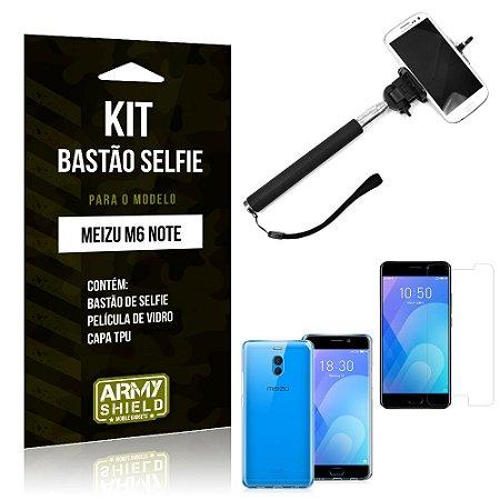 Kit Bastão de Selfie Meizu M6 Note Bastão + Capa + Película de Vidro - Armyshield