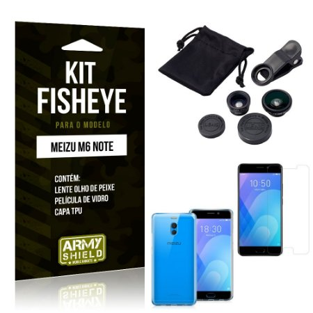 Kit Fisheye Meizu M6 Note Lente Fisheye + Capa + Película de Vidro - Armyshield